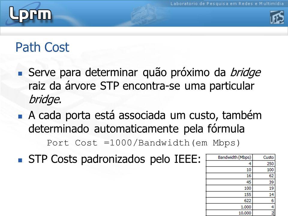 Path Cost Serve para determinar quão próximo da bridge raiz da árvore STP encontra-se uma particular bridge.
