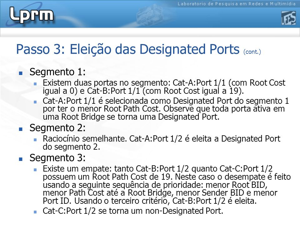 Passo 3: Eleição das Designated Ports (cont.)
