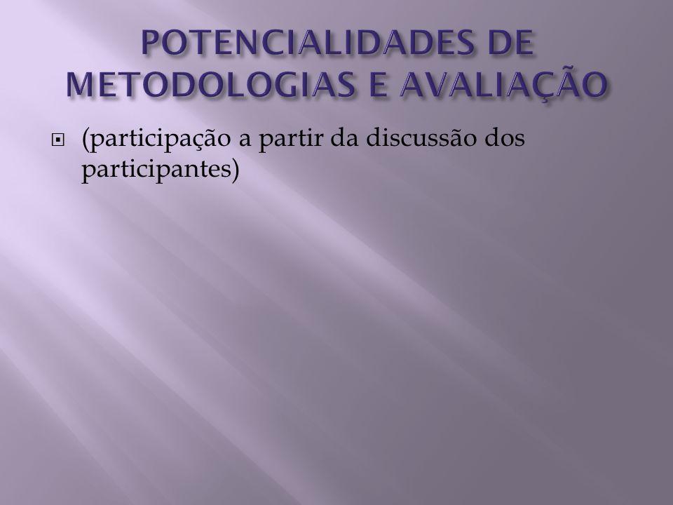 POTENCIALIDADES DE METODOLOGIAS E AVALIAÇÃO