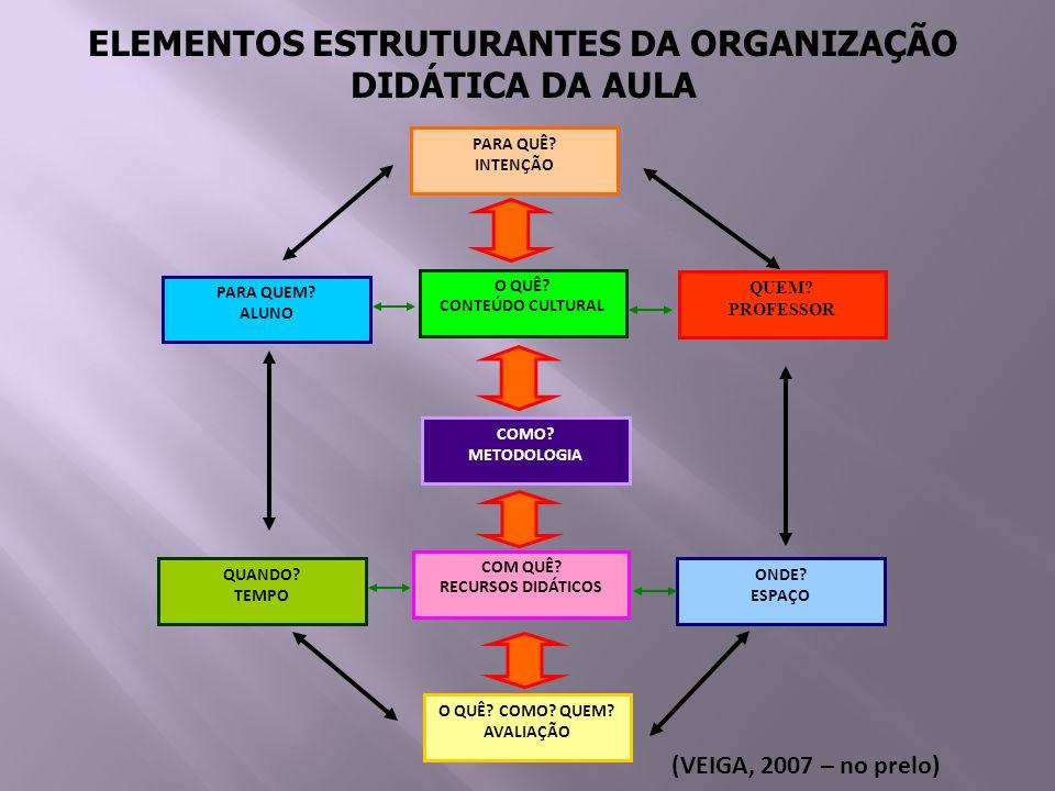 ELEMENTOS ESTRUTURANTES DA ORGANIZAÇÃO DIDÁTICA DA AULA