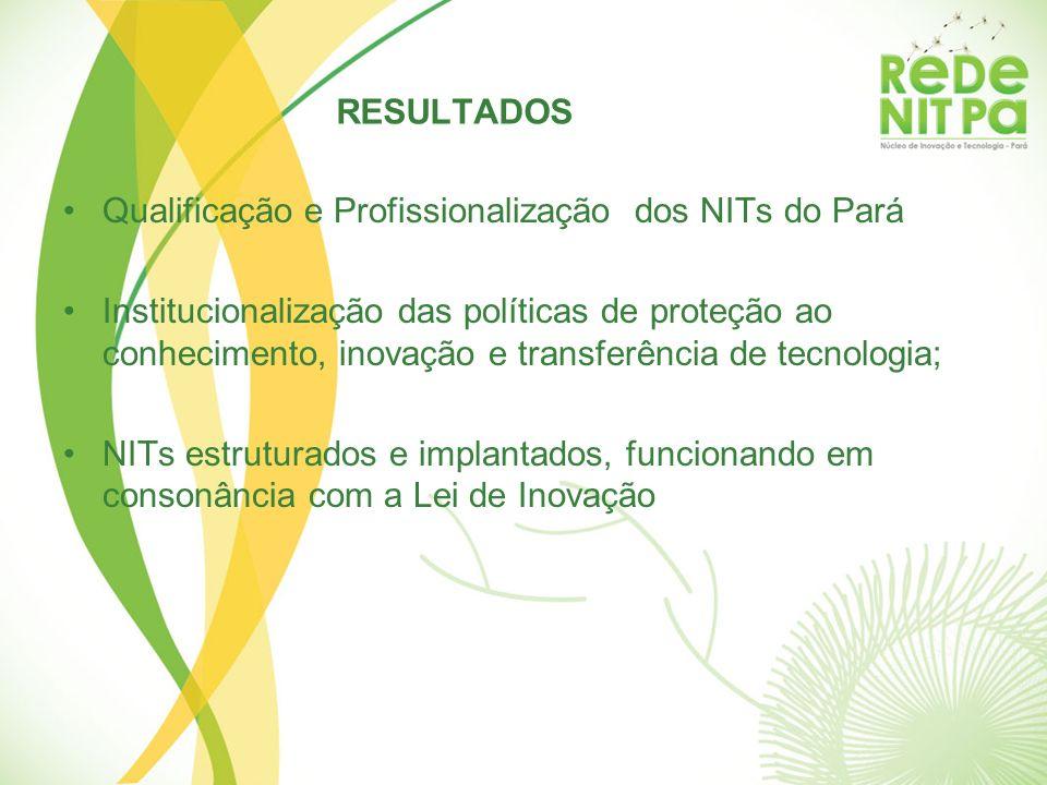 RESULTADOS Qualificação e Profissionalização dos NITs do Pará.