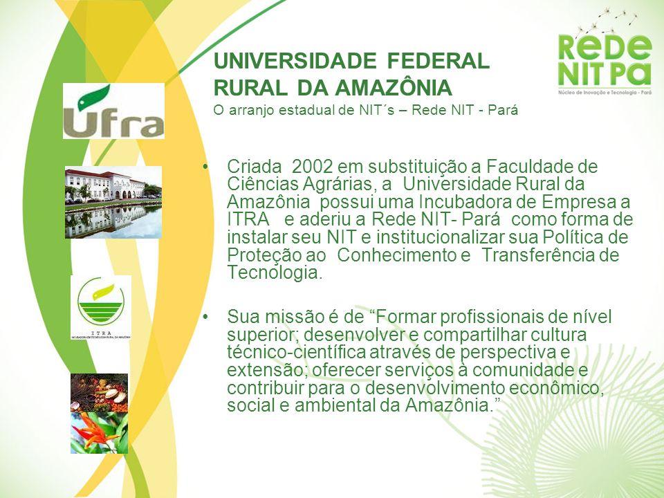 UNIVERSIDADE FEDERAL RURAL DA AMAZÔNIA O arranjo estadual de NIT´s – Rede NIT - Pará