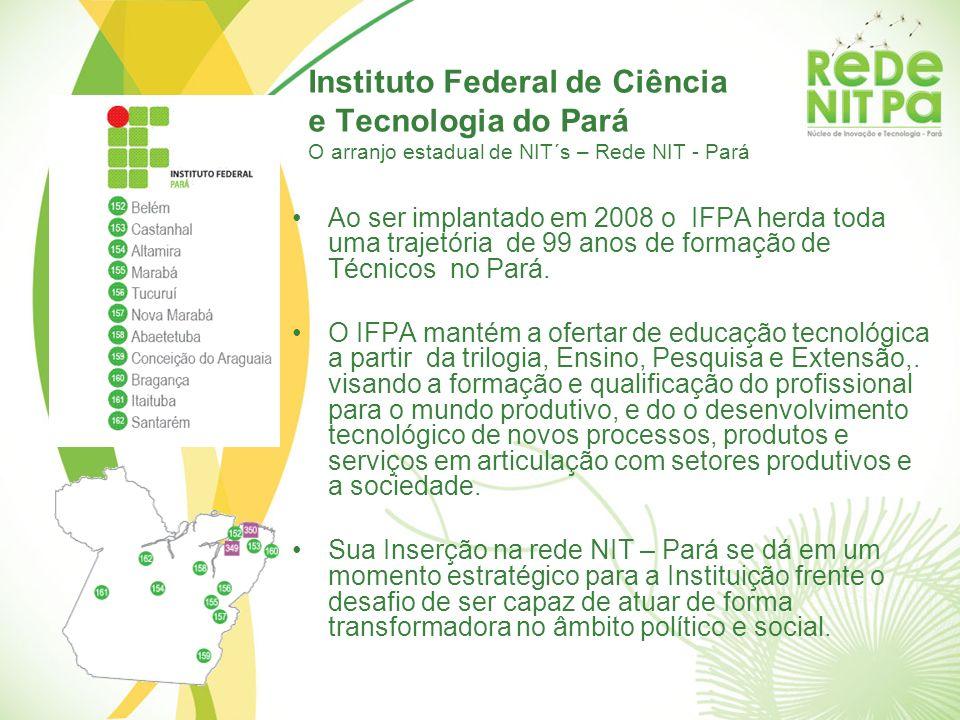 Instituto Federal de Ciência e Tecnologia do Pará O arranjo estadual de NIT´s – Rede NIT - Pará