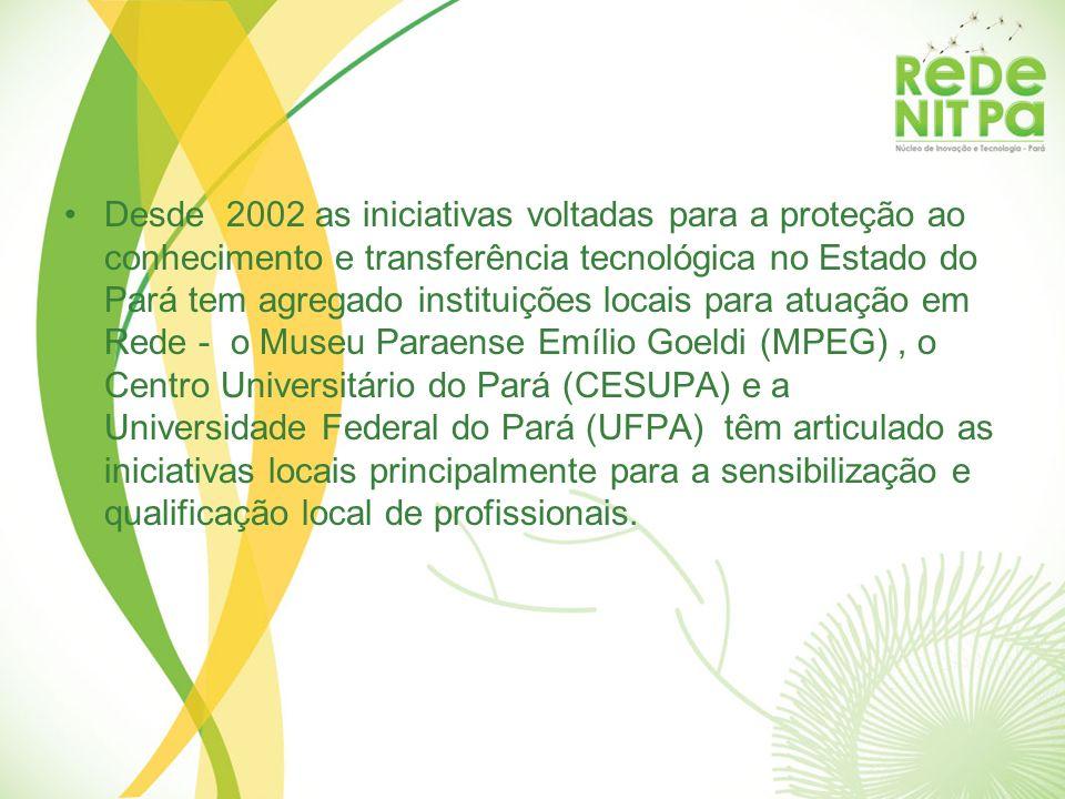 Desde 2002 as iniciativas voltadas para a proteção ao conhecimento e transferência tecnológica no Estado do Pará tem agregado instituições locais para atuação em Rede - o Museu Paraense Emílio Goeldi (MPEG) , o Centro Universitário do Pará (CESUPA) e a Universidade Federal do Pará (UFPA) têm articulado as iniciativas locais principalmente para a sensibilização e qualificação local de profissionais.