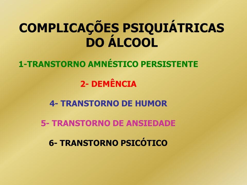 COMPLICAÇÕES PSIQUIÁTRICAS DO ÁLCOOL