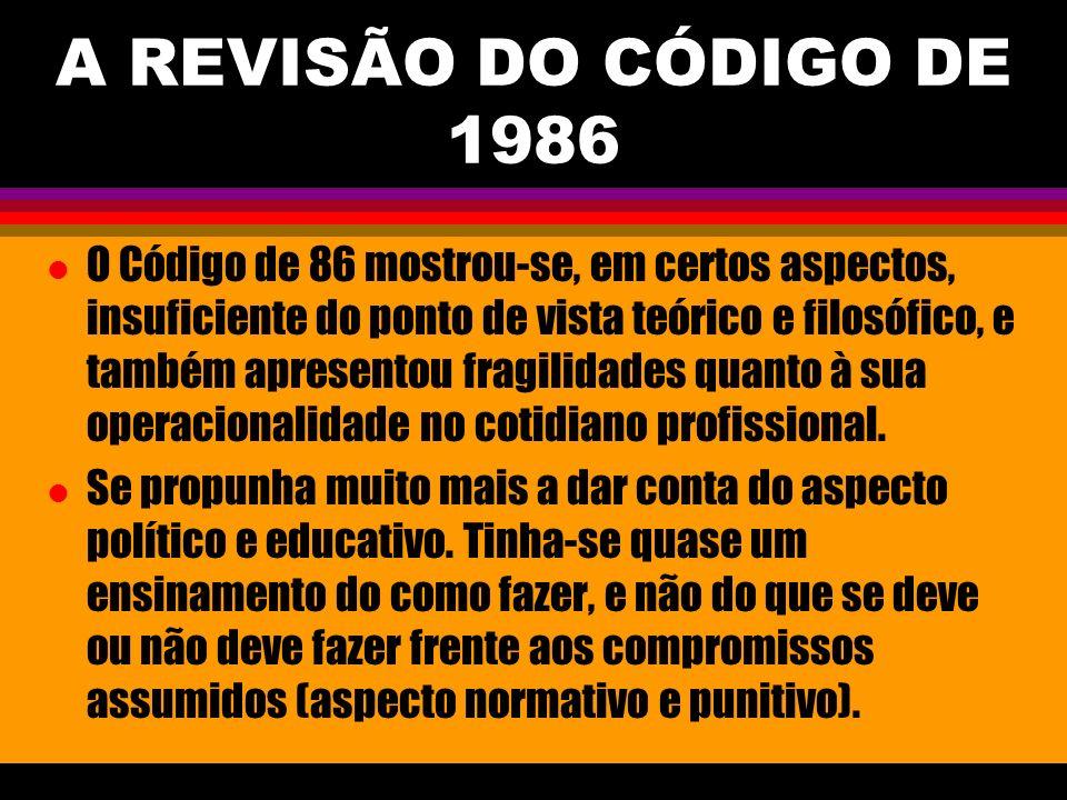 A REVISÃO DO CÓDIGO DE 1986