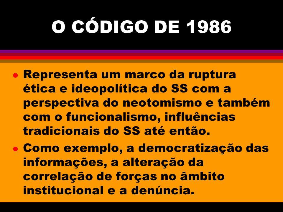 O CÓDIGO DE 1986