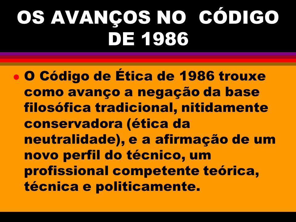 OS AVANÇOS NO CÓDIGO DE 1986