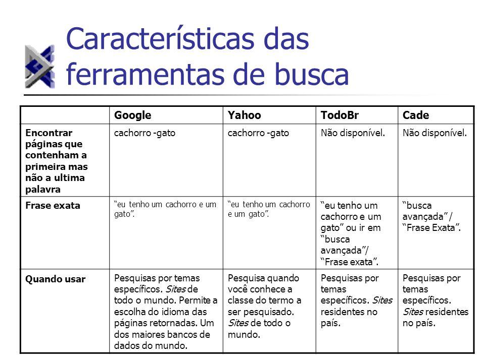 Características das ferramentas de busca