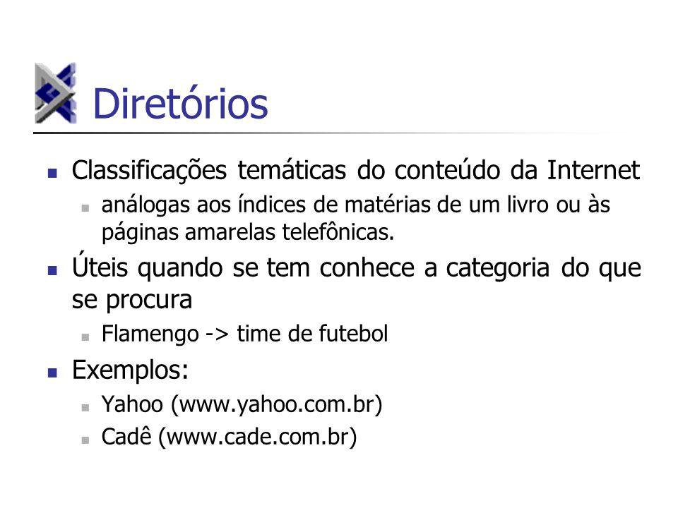 Diretórios Classificações temáticas do conteúdo da Internet