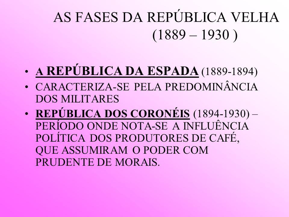 AS FASES DA REPÚBLICA VELHA (1889 – 1930 )