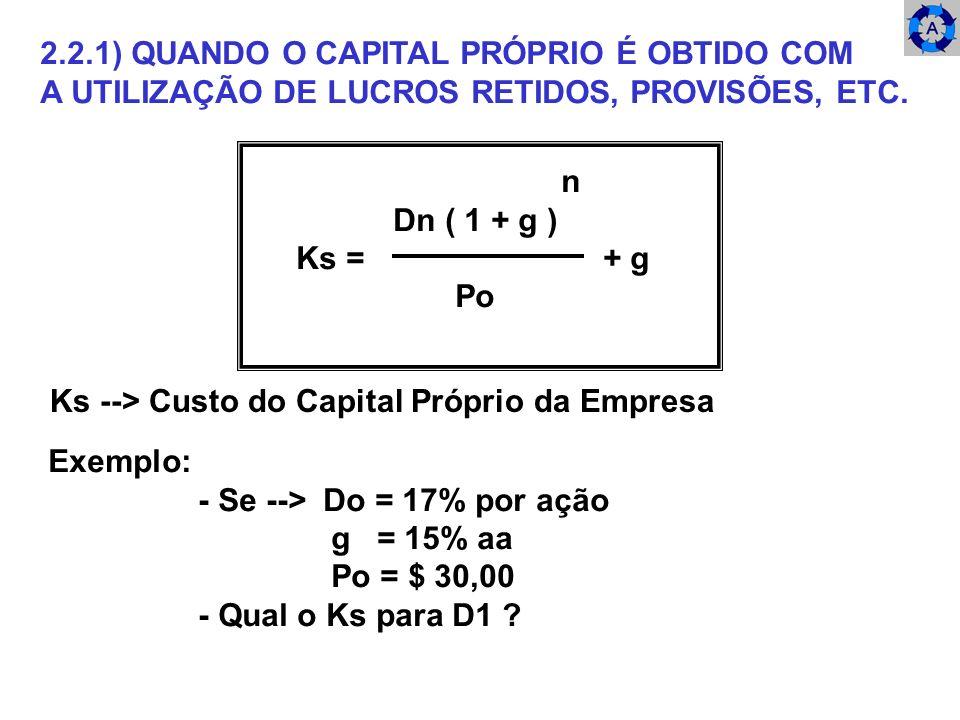 2.2.1) QUANDO O CAPITAL PRÓPRIO É OBTIDO COM
