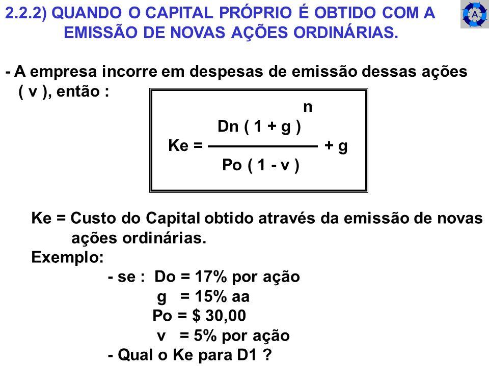 2.2.2) QUANDO O CAPITAL PRÓPRIO É OBTIDO COM A