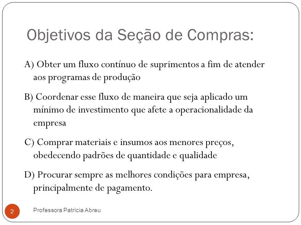 Objetivos da Seção de Compras:
