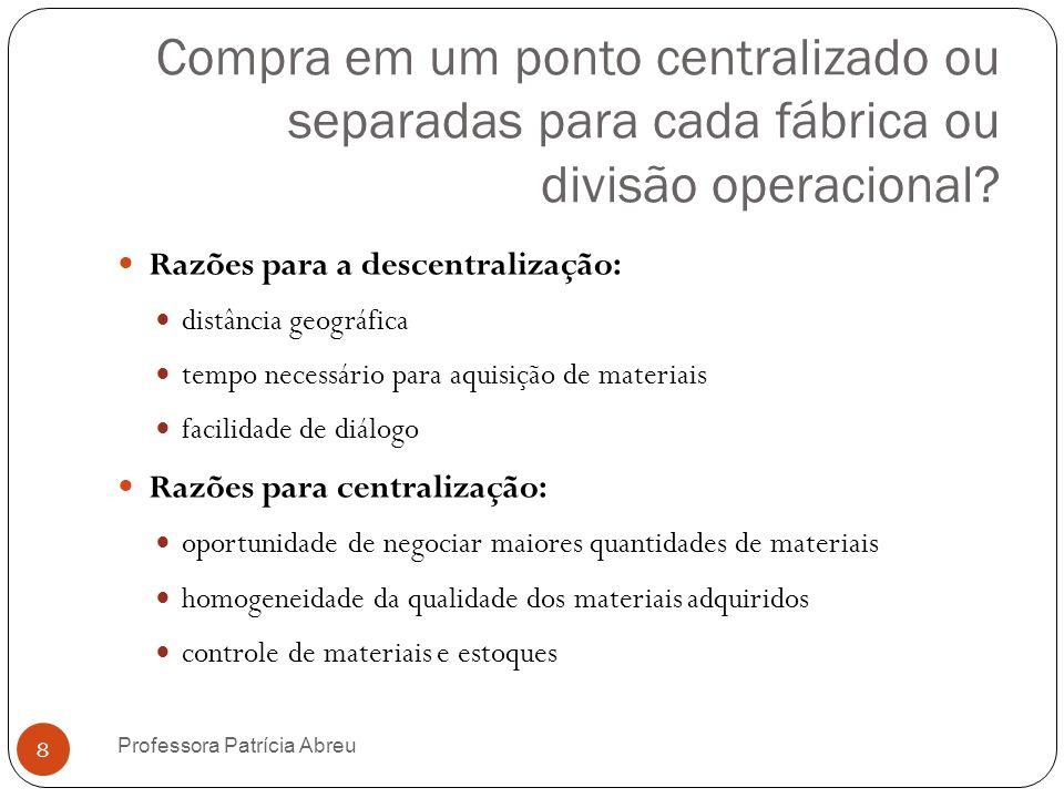 Compra em um ponto centralizado ou separadas para cada fábrica ou divisão operacional