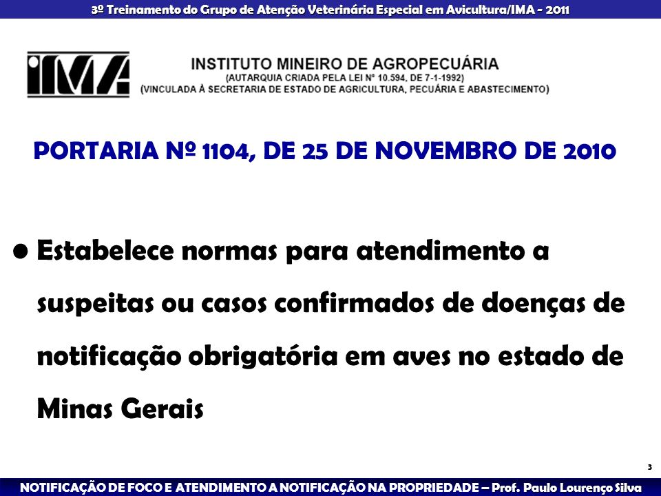 PORTARIA Nº 1104, DE 25 DE NOVEMBRO DE 2010