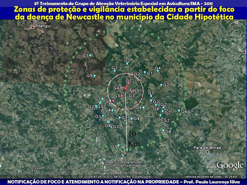 Zonas de proteção e vigilância estabelecidas a partir do foco da doença de Newcastle no município da Cidade Hipotética
