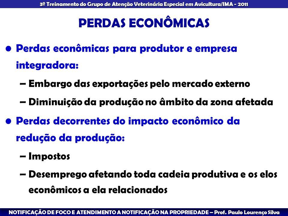 PERDAS ECONÔMICAS Perdas econômicas para produtor e empresa integradora: Embargo das exportações pelo mercado externo.