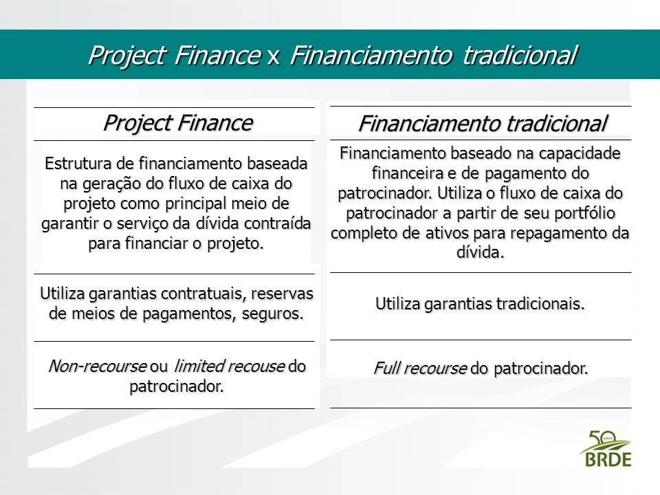 Project Finance x Financiamento tradicional