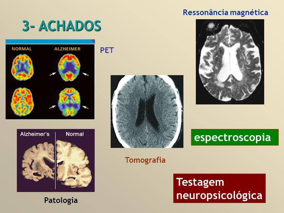 3- ACHADOS espectroscopia Testagem neuropsicológica