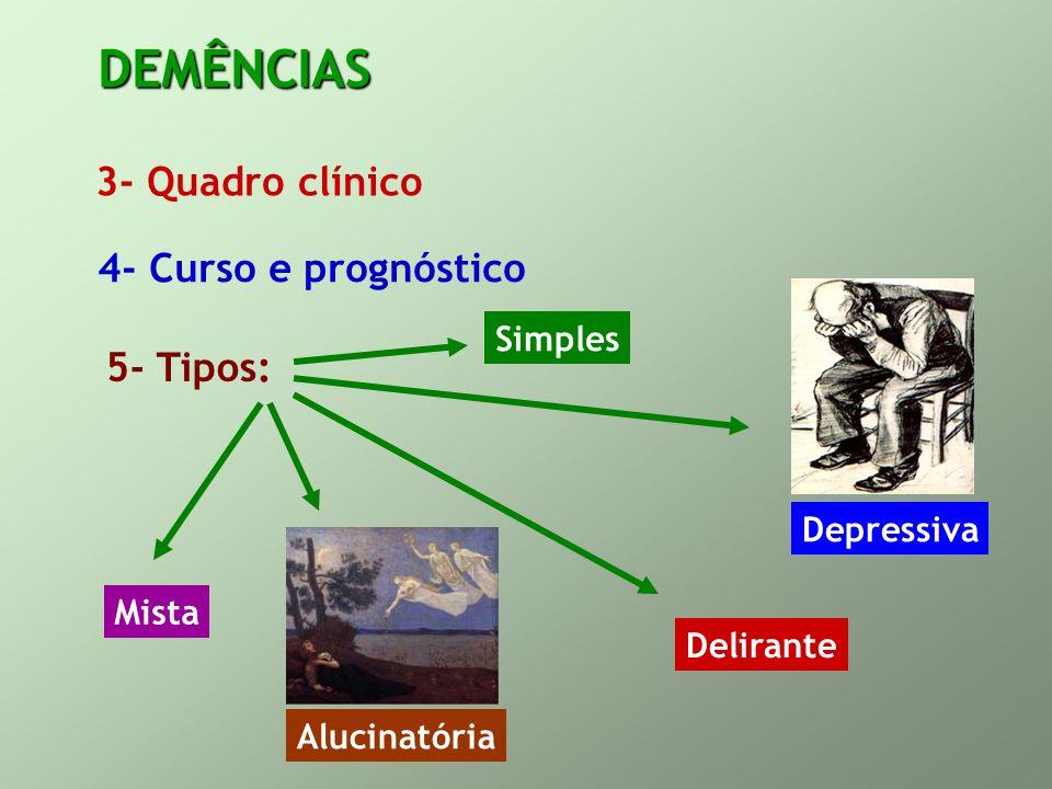 DEMÊNCIAS 3- Quadro clínico 4- Curso e prognóstico 5- Tipos: Simples