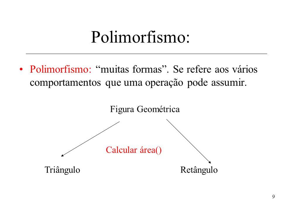 Polimorfismo: Polimorfismo: muitas formas . Se refere aos vários comportamentos que uma operação pode assumir.