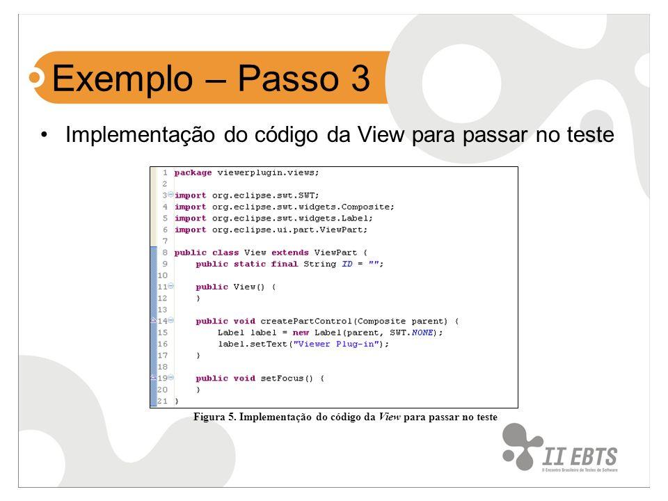 Figura 5. Implementação do código da View para passar no teste