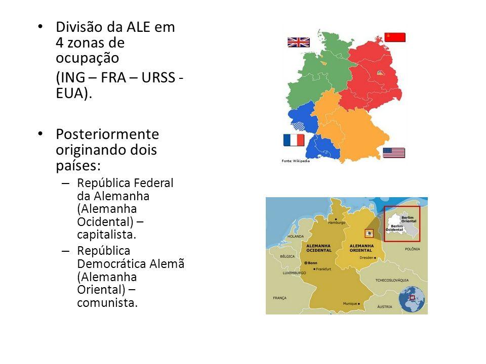 Divisão da ALE em 4 zonas de ocupação (ING – FRA – URSS -EUA).