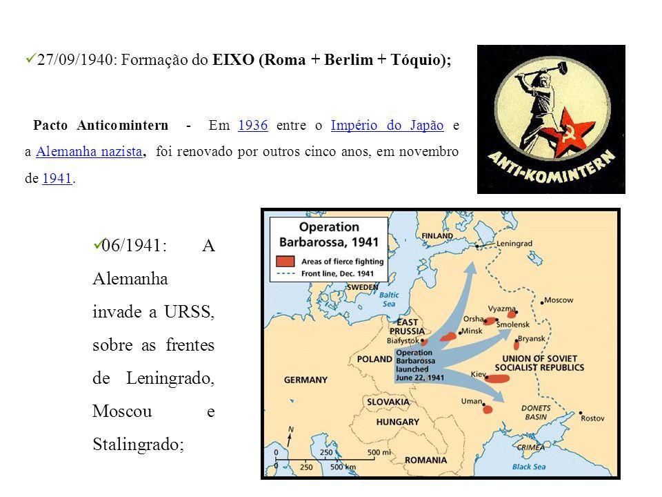 27/09/1940: Formação do EIXO (Roma + Berlim + Tóquio);