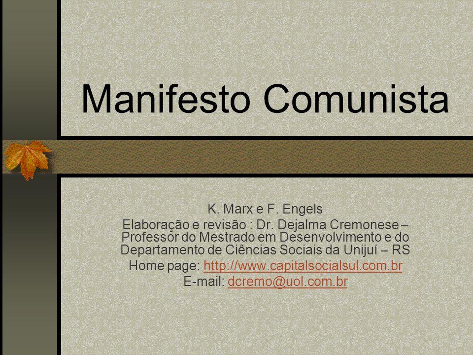 Manifesto Comunista K. Marx e F. Engels