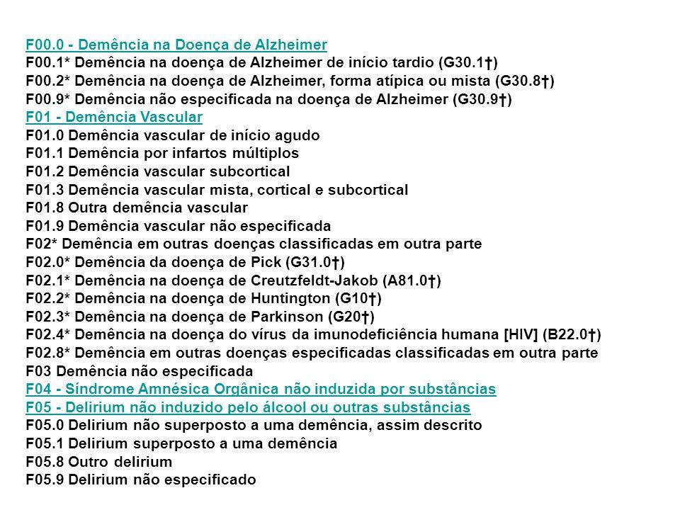 F00. 0 - Demência na Doença de Alzheimer F00. 1