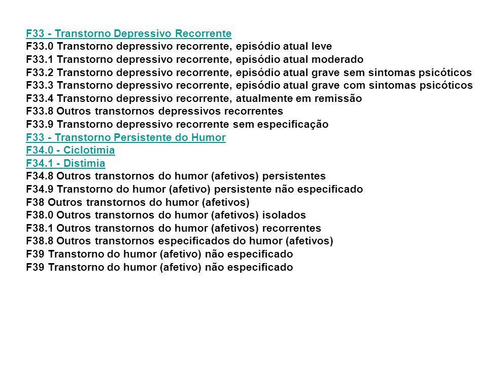 F33 - Transtorno Depressivo Recorrente F33
