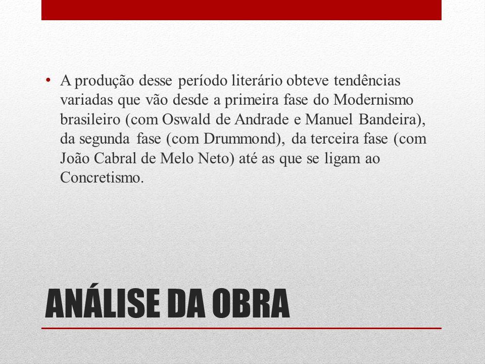 A produção desse período literário obteve tendências variadas que vão desde a primeira fase do Modernismo brasileiro (com Oswald de Andrade e Manuel Bandeira), da segunda fase (com Drummond), da terceira fase (com João Cabral de Melo Neto) até as que se ligam ao Concretismo.