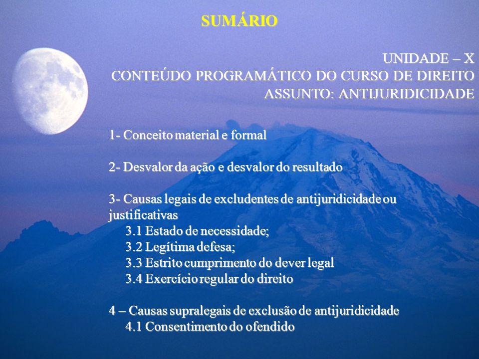 SUMÁRIO UNIDADE – X CONTEÚDO PROGRAMÁTICO DO CURSO DE DIREITO