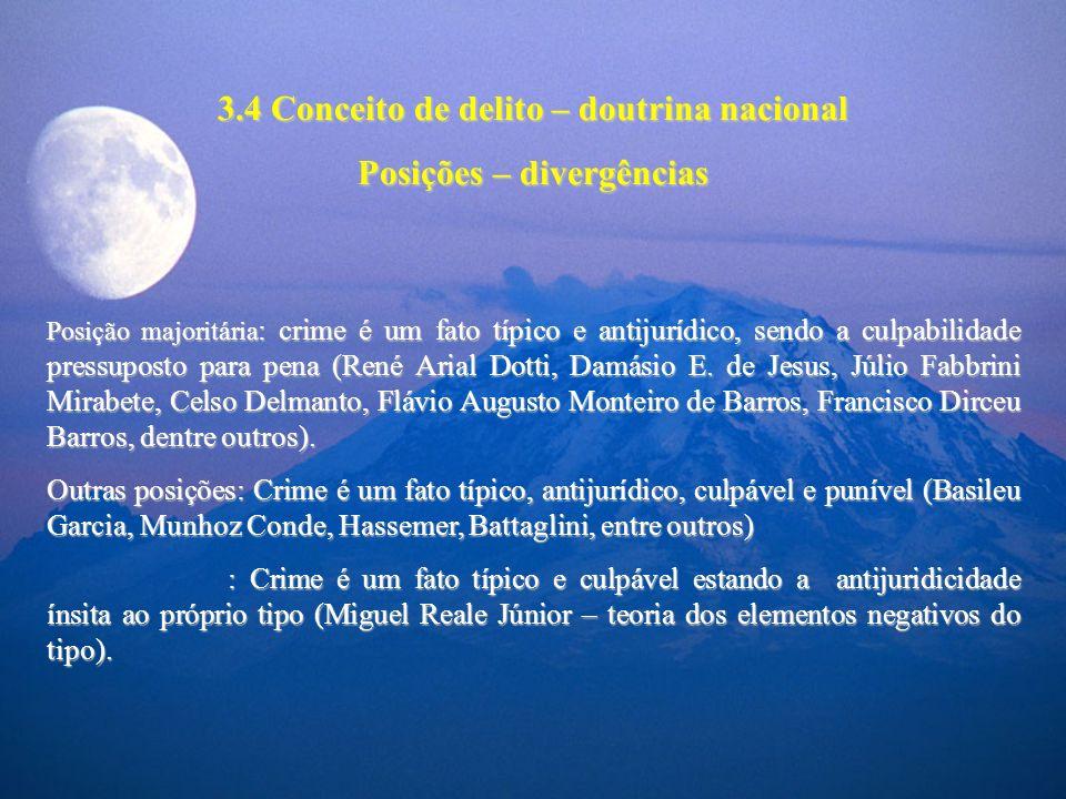 3.4 Conceito de delito – doutrina nacional Posições – divergências