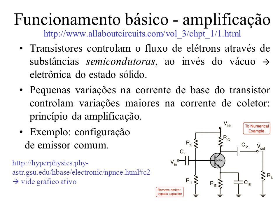Funcionamento básico - amplificação http://www. allaboutcircuits