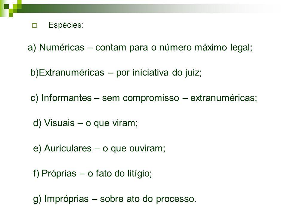 a) Numéricas – contam para o número máximo legal;