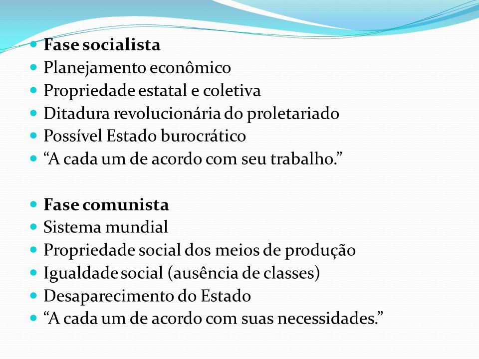 Fase socialistaPlanejamento econômico. Propriedade estatal e coletiva. Ditadura revolucionária do proletariado.