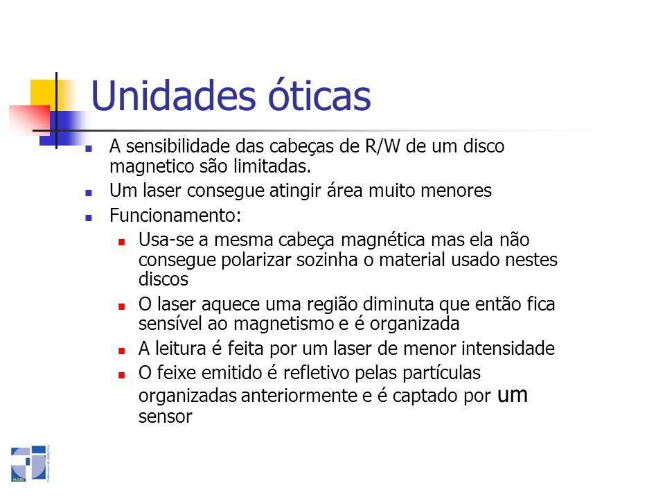 Unidades óticas A sensibilidade das cabeças de R/W de um disco magnetico são limitadas. Um laser consegue atingir área muito menores.