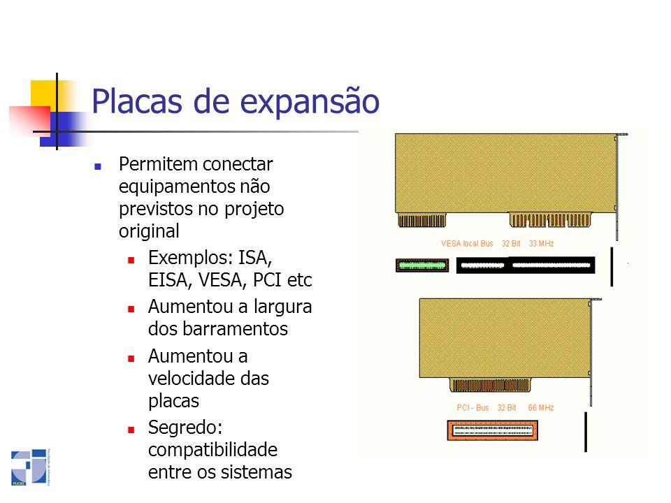 Placas de expansãoPermitem conectar equipamentos não previstos no projeto original. Exemplos: ISA, EISA, VESA, PCI etc.