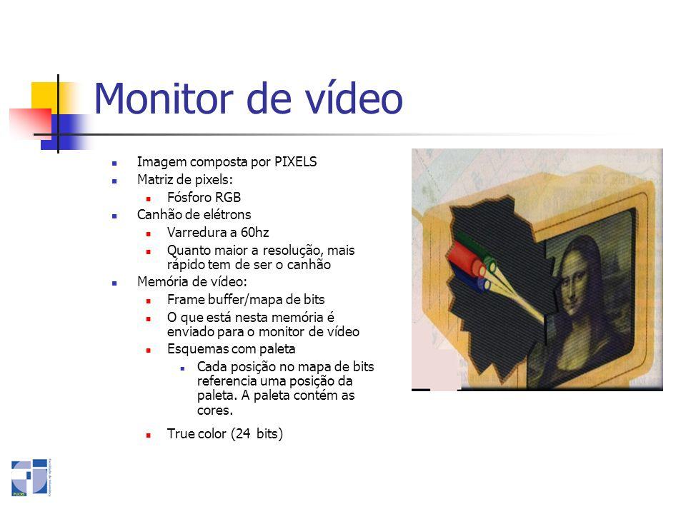Monitor de vídeo Imagem composta por PIXELS Matriz de pixels: