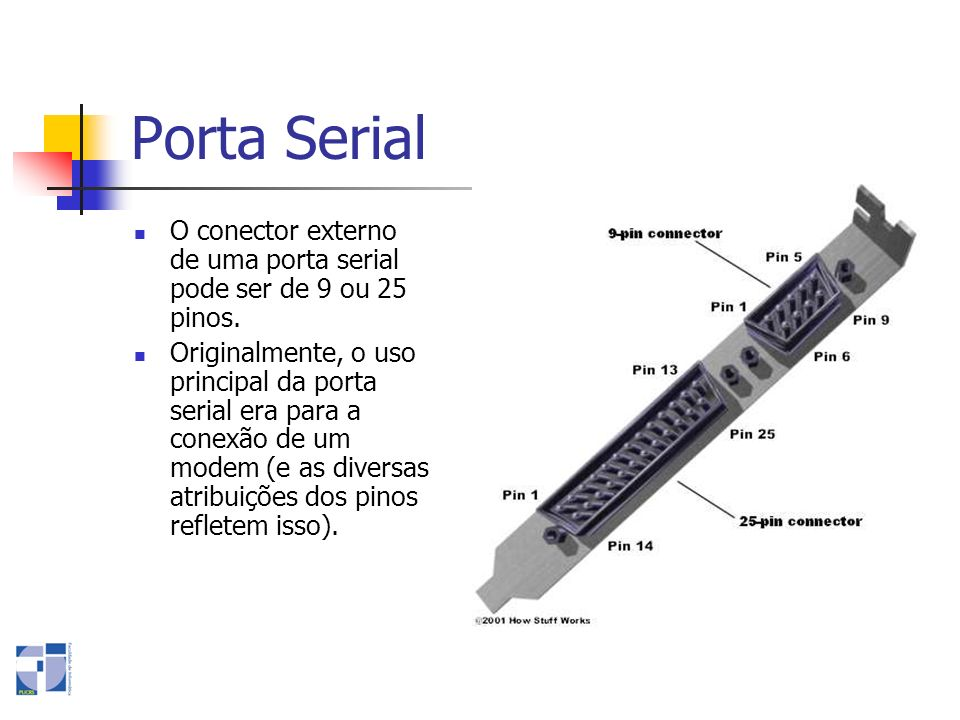 Porta Serial O conector externo de uma porta serial pode ser de 9 ou 25 pinos.