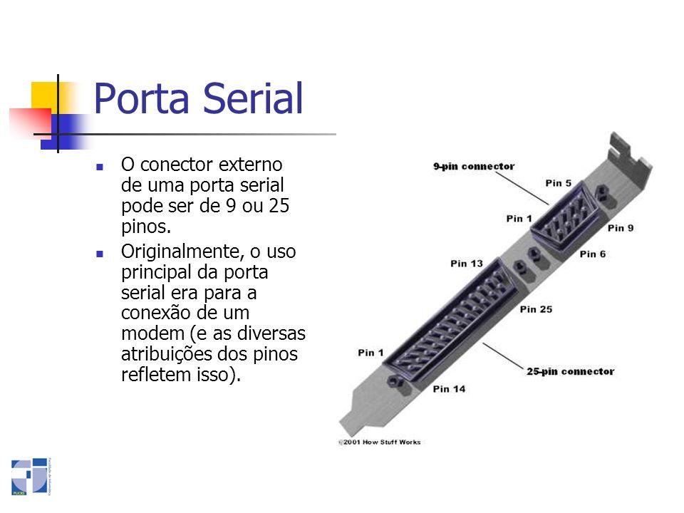 Porta SerialO conector externo de uma porta serial pode ser de 9 ou 25 pinos.