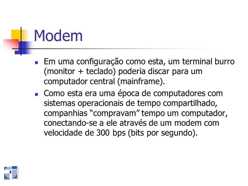 Modem Em uma configuração como esta, um terminal burro (monitor + teclado) poderia discar para um computador central (mainframe).