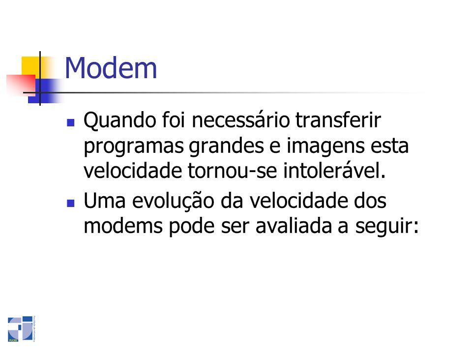 Modem Quando foi necessário transferir programas grandes e imagens esta velocidade tornou-se intolerável.
