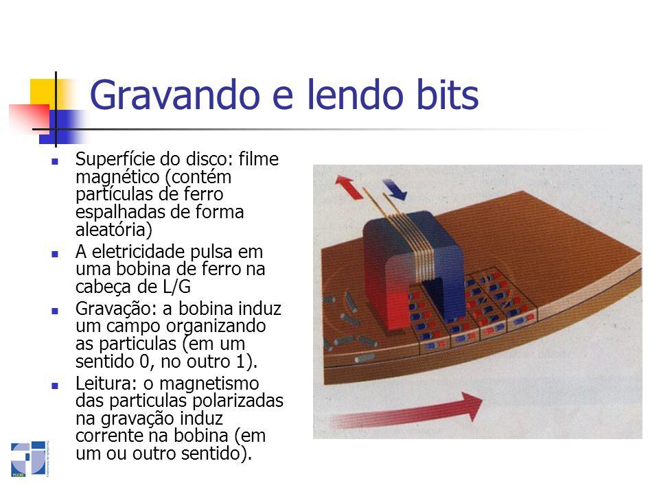 Gravando e lendo bits Superfície do disco: filme magnético (contém partículas de ferro espalhadas de forma aleatória)