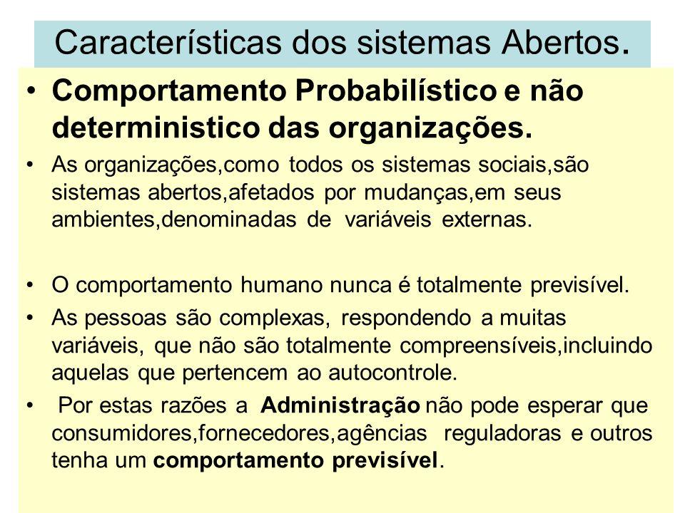 Características dos sistemas Abertos.