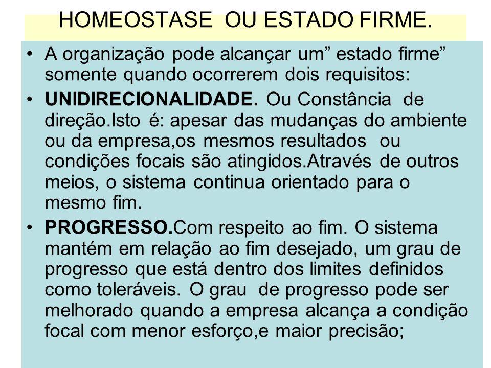 HOMEOSTASE OU ESTADO FIRME.