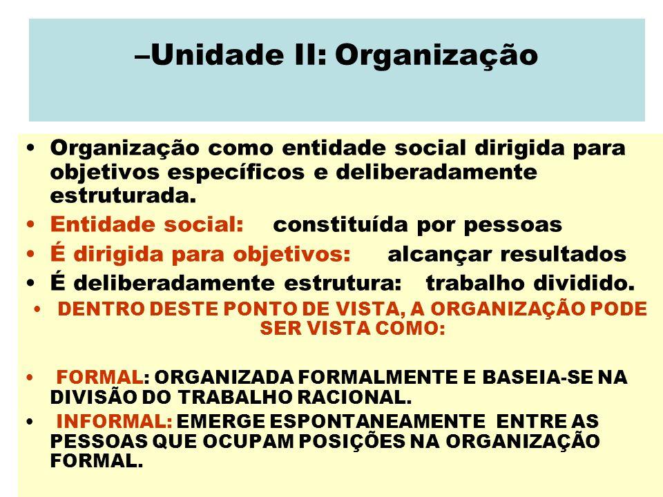 –Unidade II: Organização