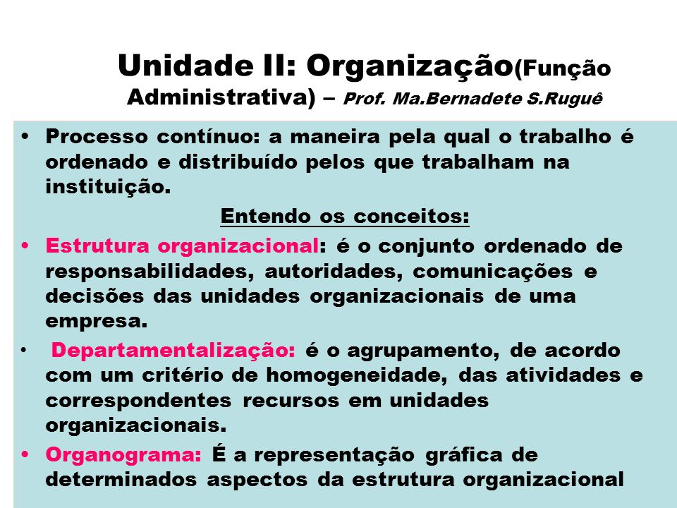 Unidade II: Organização(Função Administrativa) – Prof. Ma. Bernadete S